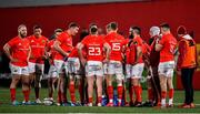 14 February 2020; The Munster team huddle during the Guinness PRO14 Round 11 match between Munster and Isuzu Southern Kings at Irish Independent Park in Cork. Photo by Brendan Moran/Sportsfile