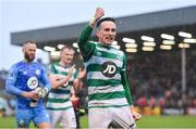 15 February 2020; Aaron McEneff of Shamrock Rovers celebrates following the SSE Airtricity League Premier Division match between Bohemians and Shamrock Rovers at Dalymount Park in Dublin. Photo by Seb Daly/Sportsfile