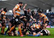 15 February 2020; Leinster players, from left, Max Deegan, Luke McGrath and Peter Dooley celebrate a try scored by team-mate Rónan Kelleher during the Guinness PRO14 Round 11 match between Leinster and Toyota Cheetahs at the RDS Arena in Dublin. Photo by Ramsey Cardy/Sportsfile
