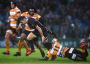 15 February 2020; Luke McGrath of Leinster is tackled by Rabz Maxwane of Toyota Cheetahs during the Guinness PRO14 Round 11 match between Leinster and Toyota Cheetahs at the RDS Arena in Dublin. Photo by Ramsey Cardy/Sportsfile