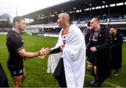 15 February 2020; Ruan Pienaar of Toyota Cheetahs and Fergus McFadden of Leinster after the Guinness PRO14 Round 11 match between Leinster and Toyota Cheetahs at the RDS Arena in Dublin. Photo by Ramsey Cardy/Sportsfile