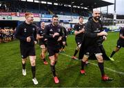 15 February 2020; Leinster players, from left, Ciarán Frawley, Rob Kearney, and Scott Fardy after the Guinness PRO14 Round 11 match between Leinster and Toyota Cheetahs at the RDS Arena in Dublin. Photo by Ramsey Cardy/Sportsfile