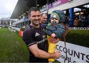 15 February 2020; Fergus McFadden of Leinster with his son Freddy after the Guinness PRO14 Round 11 match between Leinster and Toyota Cheetahs at the RDS Arena in Dublin. Photo by Ramsey Cardy/Sportsfile