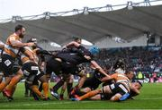 15 February 2020; Rónan Kelleher of Leinster scores his side's second try during the Guinness PRO14 Round 11 match between Leinster and Toyota Cheetahs at the RDS Arena in Dublin. Photo by Ramsey Cardy/Sportsfile