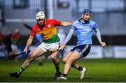 15 February 2020; Seán Moran of Dublin in action against Martin Kavanagh of Carlow during the Allianz Hurling League Division 1 Group B Round 3 match between Carlow and Dublin at Netwatch Cullen Park in Carlow. Photo by David Fitzgerald/Sportsfile