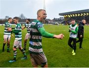 15 February 2020; Graham Burke of Shamrock Rovers celebrates following his side's victory during the SSE Airtricity League Premier Division match between Bohemians and Shamrock Rovers at Dalymount Park in Dublin. Photo by Seb Daly/Sportsfile
