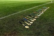 12 February 2020; A general view of hurls on the sideline before the Fitzgibbon Cup Final match between UCC and IT Carlow at Dublin City University Sportsgrounds in Glasnevin, Dublin. Photo by Piaras Ó Mídheach/Sportsfile