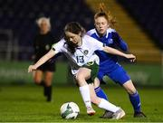 14 February 2020; Aoife Horgan of Republic of Ireland in action against Birna Kristín Björnsdóttir of Iceland during the Women's Under-17s International Friendly between Republic of Ireland and Iceland at the RSC in Waterford United. Photo by Matt Browne/Sportsfile