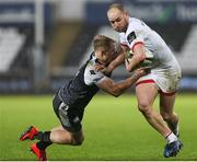 15 February 2020;  Matt Faddes of Ulster is tackled by Aled Davies of Ospreys during the Guinness PRO14 Round 11 match between Ospreys and Ulster at Liberty Stadium in Swansea, Wales. Photo by Gareth Everett/Sportsfile