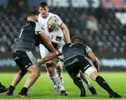 15 February 2020; Luke Marshall of Ulster is tackled by Nicky Smith and Olly Cracknell of Ospreys during the Guinness PRO14 Round 11 match between Ospreys and Ulster at Liberty Stadium in Swansea, Wales. Photo by Gareth Everett/Sportsfile