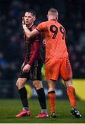 15 February 2020; Andy Lyons, left, is consoled by his Bohemians team-mate James Talbot after receiving a red card during the SSE Airtricity League Premier Division match between Bohemians and Shamrock Rovers at Dalymount Park in Dublin. Photo by Stephen McCarthy/Sportsfile