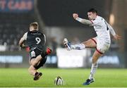15 February 2020; Bill Johnston of Ulster has his drop goal attempt blocked by Aled Davies of Ospreys in the late stages of the Guinness PRO14 Round 11 match between Ospreys and Ulster at Liberty Stadium in Swansea, Wales. Photo by Gareth Everett/Sportsfile