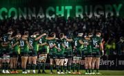 15 February 2020; The Connacht team during a minute's silence for former Munster Rugby CEO Garrett Fitzgerald ahead of the Guinness PRO14 Round 11 match between Connacht and Cardiff Blues at the Sportsground in Galway. Photo by Sam Barnes/Sportsfile