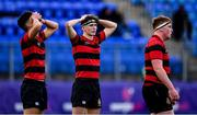 12 February 2020; Newbridge College players, from left, Liam Foot, Ross Jacob, and Harry Dawson dejected after the Bank of Ireland Leinster Schools Senior Cup Second Round match between Kilkenny College and Newbridge College at Energia Park in Dublin. Photo by Piaras Ó Mídheach/Sportsfile
