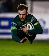 15 February 2020; John Porch of Connacht dives over to score his side's third try during the Guinness PRO14 Round 11 match between Connacht and Cardiff Blues at the Sportsground in Galway. Photo by Sam Barnes/Sportsfile