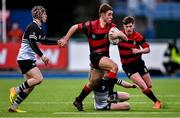 12 February 2020; Adam Strong of Kilkenny College is tackled by Donal Conroy, left, and Cormac King of Newbridge College during the Bank of Ireland Leinster Schools Senior Cup Second Round match between Kilkenny College and Newbridge College at Energia Park in Dublin. Photo by Piaras Ó Mídheach/Sportsfile