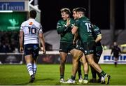 15 February 2020; Kyle Godwin, centre, celebrates with Connacht team-mates John Porch, left, and Tiernan O'Halloran after scoring his side's fourth try during the Guinness PRO14 Round 11 match between Connacht and Cardiff Blues at the Sportsground in Galway. Photo by Sam Barnes/Sportsfile