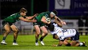 15 February 2020; Tom Daly supported by Connacht team-mate Kyle Godwin is tackled by Nick Williams and Rey Lee-Lo of Cardiff Blues during the Guinness PRO14 Round 11 match between Connacht and Cardiff Blues at the Sportsground in Galway. Photo by Sam Barnes/Sportsfile