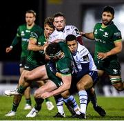 15 February 2020; Tom Daly of Connacht is tackled by Ben Thomas, right, and Will Boyde of Cardiff Blues during the Guinness PRO14 Round 11 match between Connacht and Cardiff Blues at the Sportsground in Galway. Photo by Sam Barnes/Sportsfile