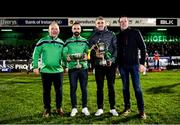 15 February 2020; Oughterard All-Ireland Intermediate Club Football Champions manager Tommy Finnerty, left, and captain Eddie O'Sullivan, and Corofin All-Ireland Senior Club Football Champions captain Kieran Fitzgerald and manager Kevin O'Brien, right, with their trophies as they were presented at half-time during the Guinness PRO14 Round 11 match between Connacht and Cardiff Blues at the Sportsground in Galway. Photo by Sam Barnes/Sportsfile