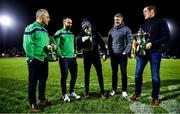 15 February 2020; Oughterard All-Ireland Intermediate Club Football Champions manager Tommy Finnerty, left, and captain Eddie O'Sullivan, and Corofin All-Ireland Senior Club Football Champions captain Kieran Fitzgerald and manager Kevin O'Brien, right, with their trophies as they are interviewed at half-time during the Guinness PRO14 Round 11 match between Connacht and Cardiff Blues at the Sportsground in Galway. Photo by Sam Barnes/Sportsfile