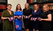 15 February 2020; Administration graduates, from left, Sinead Reel from Silverbridge GAA club in Armagh, Eimear O'Connor from Mountrath in Laois, Liz Ahern from Carrigtwohill in Cork, Trina Murray from Moate GAA club in Westmeath and Eileen Jones from Aodh Ruadh GAA club in Dungannon, Tyrone with their medallions after the Learn to Lead – LGFA Female Leadership Programme graduation evening at The Croke Park, Jones Road, Dublin. The Learn to Lead programme was devised to develop the next generation of leaders within Ladies Gaelic Football. Photo by Brendan Moran/Sportsfile