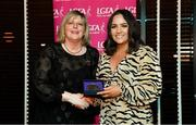 15 February 2020; Niamh Dunne from Park Ratheniska GAA club in Laois is presented with her PR/Media medallion by LGFA President Marie Hickey during the Learn to Lead – LGFA Female Leadership Programme graduation evening at The Croke Park, Jones Road, Dublin. The Learn to Lead programme was devised to develop the next generation of leaders within Ladies Gaelic Football. Photo by Brendan Moran/Sportsfile