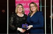 15 February 2020; Trina Murray from Moate GAA club in Westmeath is presented with her Administration medallion by LGFA President Marie Hickey during the Learn to Lead – LGFA Female Leadership Programme graduation evening at The Croke Park, Jones Road, Dublin. The Learn to Lead programme was devised to develop the next generation of leaders within Ladies Gaelic Football. Photo by Brendan Moran/Sportsfile