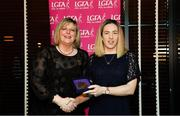15 February 2020; Mairead Dullea from Bantry Blues GAA club in Cork is presented with her Officiating medallion by LGFA President Marie Hickey during the Learn to Lead – LGFA Female Leadership Programme graduation evening at The Croke Park, Jones Road, Dublin. The Learn to Lead programme was devised to develop the next generation of leaders within Ladies Gaelic Football. Photo by Brendan Moran/Sportsfile