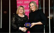 15 February 2020; Liz Ahern from Carrigtwohill in Cork is presented with her Administration medallion by LGFA President Marie Hickey during the Learn to Lead – LGFA Female Leadership Programme graduation evening at The Croke Park, Jones Road, Dublin. The Learn to Lead programme was devised to develop the next generation of leaders within Ladies Gaelic Football. Photo by Brendan Moran/Sportsfile