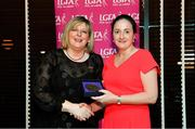 15 February 2020; Sinead McHugh from Donegal and Kilmacud Crokes GAA club in Dublin is presented with her Officiating medallion by LGFA President Marie Hickey during the Learn to Lead – LGFA Female Leadership Programme graduation evening at The Croke Park, Jones Road, Dublin. The Learn to Lead programme was devised to develop the next generation of leaders within Ladies Gaelic Football. Photo by Brendan Moran/Sportsfile