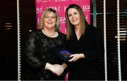 15 February 2020; Nadine Doherty from Donegal and Na Fianna GAA club in Dublin is presented with her PR/Media medallion by LGFA President Marie Hickey during the Learn to Lead – LGFA Female Leadership Programme graduation evening at The Croke Park, Jones Road, Dublin. The Learn to Lead programme was devised to develop the next generation of leaders within Ladies Gaelic Football. Photo by Brendan Moran/Sportsfile