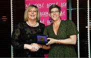 15 February 2020; Sinead Reel from Silverbridge GAA club in Armagh is presented with her Administration medallion by LGFA President Marie Hickey during the Learn to Lead – LGFA Female Leadership Programme graduation evening at The Croke Park, Jones Road, Dublin. The Learn to Lead programme was devised to develop the next generation of leaders within Ladies Gaelic Football. Photo by Brendan Moran/Sportsfile