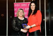 15 February 2020; Michelle Ryan from Ballymacarbry GAA club in Waterford is presented with her PR/Media medallion by LGFA President Marie Hickey during the Learn to Lead – LGFA Female Leadership Programme graduation evening at The Croke Park, Jones Road, Dublin. The Learn to Lead programme was devised to develop the next generation of leaders within Ladies Gaelic Football. Photo by Brendan Moran/Sportsfile