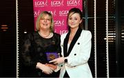 15 February 2020; Aisling Carey from Shandonagh GAA club in Mullingar, Westmeath is presented with her Officiating medallion by LGFA President Marie Hickey during the Learn to Lead – LGFA Female Leadership Programme graduation evening at The Croke Park, Jones Road, Dublin. The Learn to Lead programme was devised to develop the next generation of leaders within Ladies Gaelic Football. Photo by Brendan Moran/Sportsfile