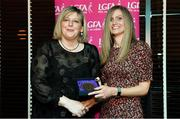 15 February 2020; Donna Hagan from Kildress GAA club in Tyrone is presented with her Coaching medallion by LGFA President Marie Hickey during the Learn to Lead – LGFA Female Leadership Programme graduation evening at The Croke Park, Jones Road, Dublin. The Learn to Lead programme was devised to develop the next generation of leaders within Ladies Gaelic Football. Photo by Brendan Moran/Sportsfile