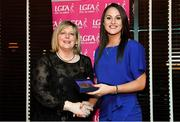 15 February 2020; Jennifer Higgins from Western Gaels GAA club in Roscommon is presented with her Coaching medallion by LGFA President Marie Hickey during the Learn to Lead – LGFA Female Leadership Programme graduation evening at The Croke Park, Jones Road, Dublin. The Learn to Lead programme was devised to develop the next generation of leaders within Ladies Gaelic Football. Photo by Brendan Moran/Sportsfile
