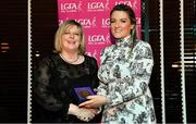 15 February 2020; Grainne Sands from Glenn John Martins GAA club in Down is presented with her Officiating medallion by LGFA President Marie Hickey during the Learn to Lead – LGFA Female Leadership Programme graduation evening at The Croke Park, Jones Road, Dublin. The Learn to Lead programme was devised to develop the next generation of leaders within Ladies Gaelic Football. Photo by Brendan Moran/Sportsfile