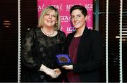 15 February 2020; Diane O'Hora from Mayo and Clanna Gael Fontenoy GAA club in Dublin is presented with her Coaching medallion by LGFA President Marie Hickey during the Learn to Lead – LGFA Female Leadership Programme graduation evening at The Croke Park, Jones Road, Dublin. The Learn to Lead programme was devised to develop the next generation of leaders within Ladies Gaelic Football. Photo by Brendan Moran/Sportsfile