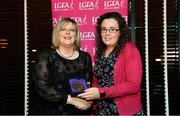 15 February 2020; Kelley Cunningham from Tullamore in Offaly is presented with her Officiating medallion by LGFA President Marie Hickey during the Learn to Lead – LGFA Female Leadership Programme graduation evening at The Croke Park, Jones Road, Dublin. The Learn to Lead programme was devised to develop the next generation of leaders within Ladies Gaelic Football. Photo by Brendan Moran/Sportsfile