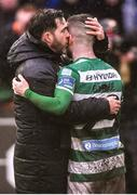 15 February 2020; Shamrock Rovers manager Stephen Bradley and Jack Byrne celebrate following the SSE Airtricity League Premier Division match between Bohemians and Shamrock Rovers at Dalymount Park in Dublin. Photo by Stephen McCarthy/Sportsfile