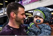 15 February 2020; Fergus McFadden of Leinster with his son Freddy following the Guinness PRO14 Round 11 match between Leinster and Toyota Cheetahs at the RDS Arena in Dublin. Photo by Ramsey Cardy/Sportsfile