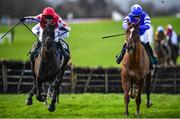 16 February 2020; Jungle Junction, with Robert Power up, left, on their way to winning the Get Your 2020 Navan Membership Maiden Hurdle ahead of The Priests Leap, with Donagh Meyler up, at Navan Racecourse in Navan, Meath. Photo by Harry Murphy/Sportsfile