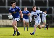 16 February 2020; Thomas Galligan of Cavan in action against Eoin Lowry of Laois during the Allianz Football League Division 2 Round 3 match between Laois and Cavan at MW Hire O'Moore Park in Portlaoise, Laois. Photo by Piaras Ó Mídheach/Sportsfile