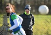 16 February 2020; Mayo manager Peter Leahy watches on as his side warm up ahead of the Lidl Ladies National Football League Division 1 Round 3 match between Mayo and Waterford at Swinford Amenity Park in Swinford, Mayo. Photo by Sam Barnes/Sportsfile