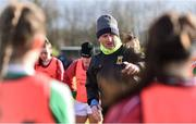 16 February 2020; Mayo manager Peter Leahy gives a team talk ahead of the Lidl Ladies National Football League Division 1 Round 3 match between Mayo and Waterford at Swinford Amenity Park in Swinford, Mayo. Photo by Sam Barnes/Sportsfile