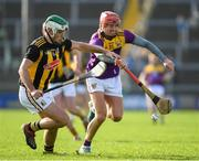 16 February 2020; Paddy Deegan of Kilkenny in action against Paul Morris of Wexford , who was playing his 100th gam for his county, during the Allianz Hurling League Division 1 Group B Round 3 match between Wexford and Kilkenny at Chadwicks Wexford Park in Wexford. Photo by Ray McManus/Sportsfile