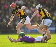 16 February 2020; Aidan Nolan of Wexford passes the sliothar as he is tackled by Conor Browne, 2, and James Maher of Kilkenny during the Allianz Hurling League Division 1 Group B Round 3 match between Wexford and Kilkenny at Chadwicks Wexford Park in Wexford. Photo by Ray McManus/Sportsfile