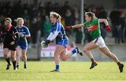 16 February 2020; Caoimhe McGrath of Waterford in action against Allanah Duffy of Mayo during the Lidl Ladies National Football League Division 1 Round 3 match between Mayo and Waterford at Swinford Amenity Park in Swinford, Mayo. Photo by Sam Barnes/Sportsfile