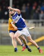 16 February 2020; John Lennon of Laois in action against Tony Kelly of Clare during the Allianz Hurling League Division 1 Group B Round 3 match between Clare and Laois at Cusack Park in Ennis, Clare. Photo by Eóin Noonan/Sportsfile